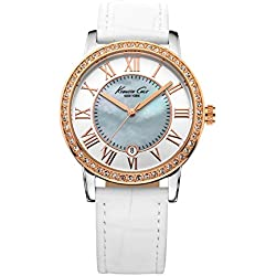 Kenneth Cole KC2836 - Reloj para mujeres, correa de piel de borrego color blanco
