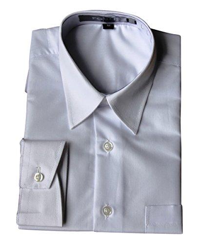BIMARO Jungen Kinderhemd weiß slim langarm festlich Baumwollmischung Hemd Hochzeit Kommunion Taufe Party, Größe:12 (158/164)