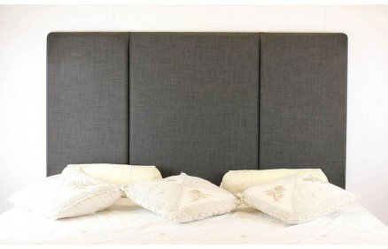 York Linen Fabric Upholstered Headboard - Available in 4 Classical Colours - All sizes 3ft 4ft 4ft6 5ft 6ft (4ft6 double, Grey