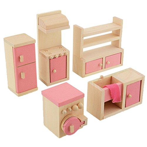 Peradix Minipuppen Holzspielzeug Puppenhaus Holzmöbel Spielzeug Küche 5-teillig