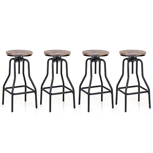 0d346538f86e25 IKAYAA Set de 4 Tabouret de Bar Industriel en Pin et Métal Style Hauteur  Réglable la