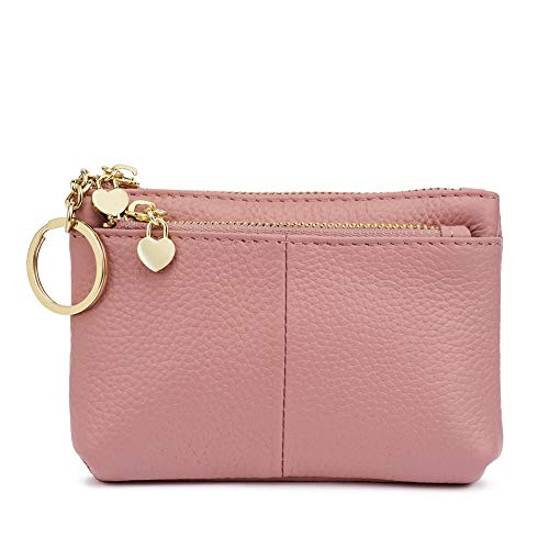 ZOOEASS Damen Echt Leder Schlüsselmäppchen Münztüte Kreditkartenetui Geldbörse (Rosa)