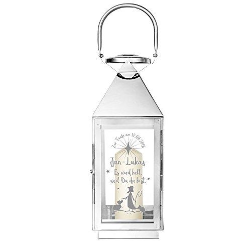 Casa Vivente – Edelstahl Laterne mit Gravur zur Taufe – Personalisiert mit [Namen] und [Datum] – Windlicht aus silbernem Metall – Gartenlicht – Geschenkidee für Jungen und Mädchen zur Taufe
