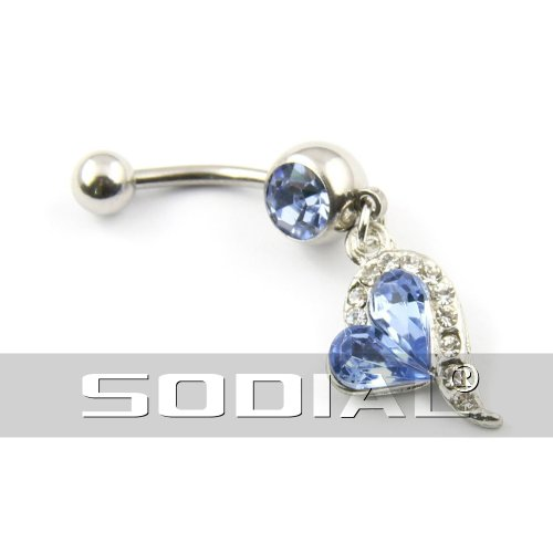 SODIAL (R) Anello dell'ombelico 316L acciaio chirurgico con strass blu Body Piercing