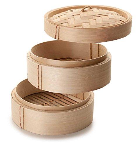 SIDCO  3 tlg. Dämpfer Bambusdämpfer Bamboo Steamer Bambus Dämpfaufsatz Dampfgarer 20cm
