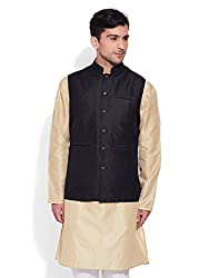 Very Me Mens Faux Silk Textured Nehru Jacket Size:- 42 / Xl (Black)