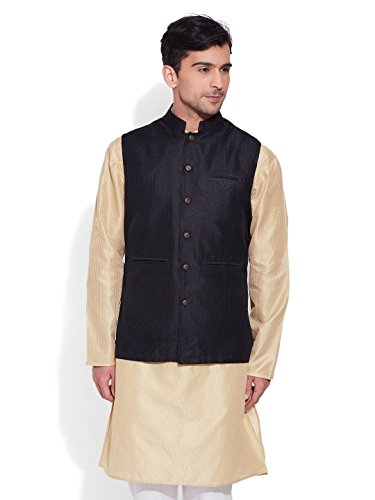 Very Me Men's Designer Black Faux Silk Textured Nehru Jacket Size:- 38 / M  available at amazon for Rs.999