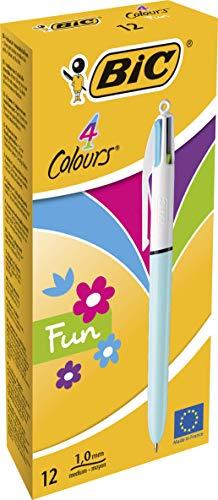Bic4 Colours Fun Penna a scatto, Punta Media 1,0 mm, Fusto verde chiaro, 4 Colori di inchiostro in una sola Penna, Confezione da 12