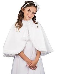 MGT-Shop Mädchen Kommunionbolero Kommunionsbolero Kommunionsjacke Kommunionjacke Cape Bolero Jacke MK-33 weiß