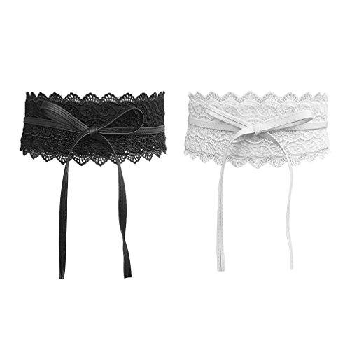 AIYUE 1 pc/2 pcs Damen Kleid Spitze Gürtel Taillengürtel Bindegürtel Wickelgürtel Vintage hüftgürtel breit Spitzengürtel taille, Schwarz+weiß, Einheitsgröße
