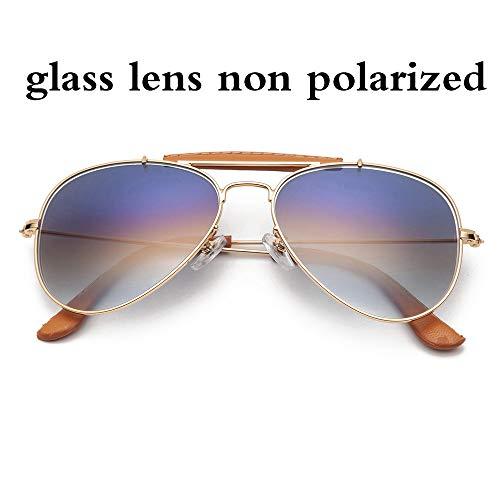 GUOTAIYH Mode Sonnenbrillen Im Freien Luftfahrt Sonnenbrillen Frauen Männer 58Mm Pilot Gradient Glaslinse Gläser Spiegel Polarisierte Uv400Gradienten Blau Glas