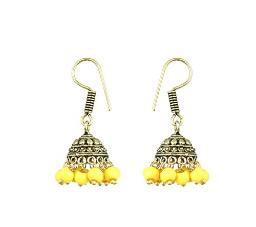 Waama Jewels Elegant Pair Of Fifteen Color Pearl Silver/Gold Plated Jhumki Earring For Party wear, Wedding & Winter Collection,South Indian Festival Pongal And makar sankranti Earrings (Gold_Yellow)  available at amazon for Rs.89