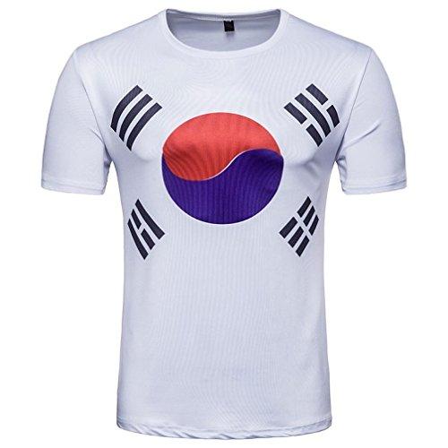 GreatestPAK Herren T-Shirt Fußball Print Kurzarm T-Shirt Sommer Top Bluse für Korea...