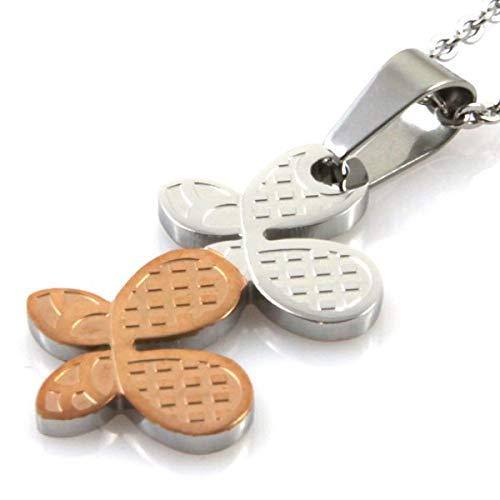 amorili Halskette mit schmetterlingen in stahl bicolor stainless sttel widerstandsfähigen nickel-free-kette bis zu 50 cm H38 L24 - cll0721