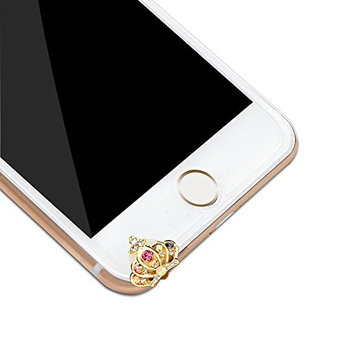 JUNGEN Strass Krone mit Diamant golden Staubschutz Stöpsel Kappe Handyschmuck Accessoire Anti Dust Plug für iPhone iPad Samsung Usw. golden