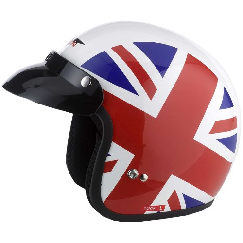 Vcan V500, casco da moto a viso scoperto con Union Jack, misura M
