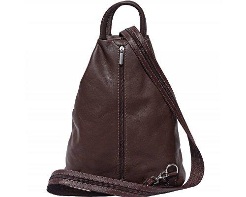 Florence Leather  207, Damen Rucksackhandtasche schwarz, Bordeaux & Tan (mehrfarbig) - 207 dunkelbraun
