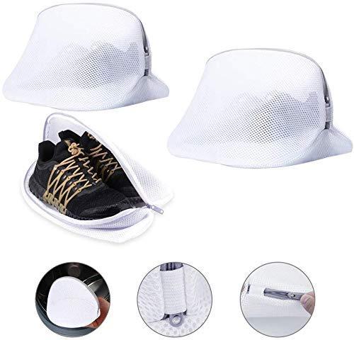 EMAGEREN Schuhe Waschbeutel 3 Stück Schuh Wäschenetz Wäschesack für Schuhe Schuh-Wäschebeutel Wäschesack Netz mit Reißverschluss für Waschmaschine,Sneaker, Socken, BHS,die Reise(2 Größen)