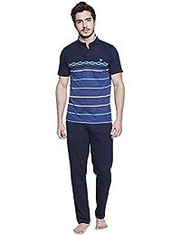 Nightwear For Men - Night Suit - Tshirt & Pyjama Combo Set - Sinker Material - Navy Color - Half Sleeves - Branded...