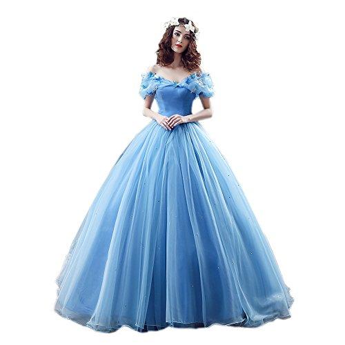 engerla Damen Organza Cosplay Aschenputtel Kleid Lange Quinceanera Ballkleid Gr. 34, blau Quinceanera Kleid