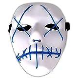 Amasawa LED Máscaras Adultos Cosplay Sin Batería con 4 Modos para Halloween la Fiesta de Disfraces la Navidad (Azul)