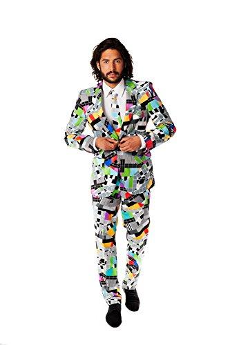 OppoSuits Karnevalskostüme Herren festlichem Druck Anzug mit Krawatte, Mehrfarbig, 56