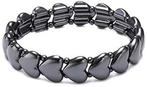 Pilgrim - 601233012 - Classic - Bracelet Femme - Métal Noir - Coeurs - Elastique - 17 cm