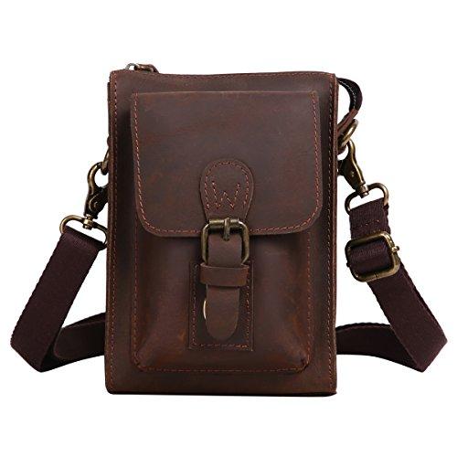Leathario mini bolso bandolera de moda de cuero de caballo loco de primer capa colgado cruzado sobre el pecho y el hombro o de hombros para hombres (marrón oscuro)
