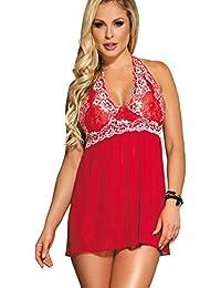 9c09b71b6f0 MarysGift Women s Sexy Lingerie Soft Sleepwear Set Baby Dolls Halter Dress  Comfortable Nightwear Plus Size UK