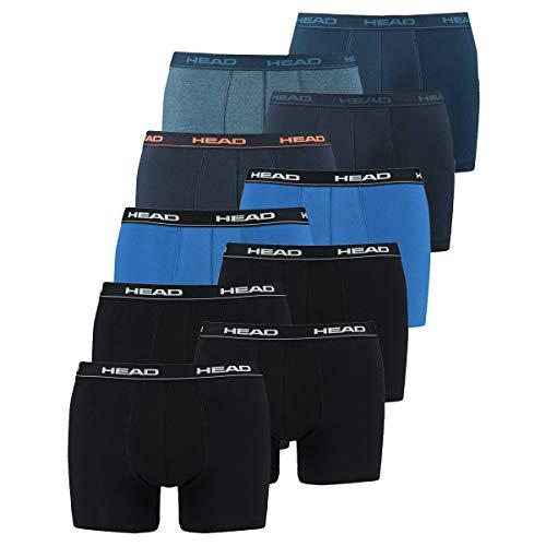 HEAD Herren Boxershorts 841001001 10er Pack, Wäschegröße:XL;Artikel:2x2er Black / 1x2er blue/black / 1x2er Peacoat/Orange / 1x2er Blue Heaven - Und 1 Peacoat