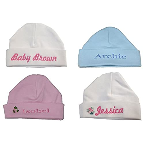 Personalised new baby gifts amazon 100 super soft double layered cotton personalised baby hat now available in 2 sizes negle Choice Image