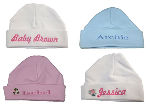 100% Super Soft Double Layered Cotton Personalised Baby Hat Now Available in 2 Sizes.