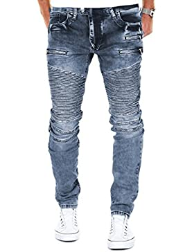 Merish Pantaloni Uomo Jeans, Jeans 5 Pocket stile, con la chiusura lampo sulla tasca elaborazione dettagliata...