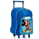 Tendencia ÚNICA Mochila-Carro Escolar Infantil con Imagen de Mickey Mouse, de 24,5x16x34cm. Robusta y con Bolsillo Delantero con Cremallera