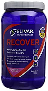 Elivar 900g Strawberry Recover Post Training Energy and Protein Recovery Drink Mix
