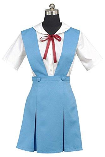 Evangelion Kostüm Neon Genesis Rei Ayanami - Neon Genesis Evangelion EVA Rei Ayanami Blue&White Dress Anime Cosplay Kostüm Damen XS