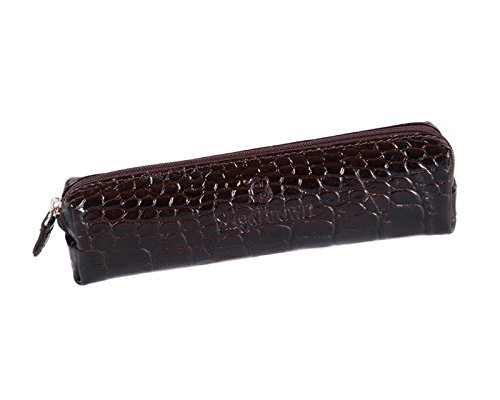 Sage brown trousse en cuir véritable, medium Brown Croc