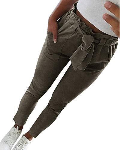 ShallGood Donna Pantaloni Basic Elegante Alto Vita Harem Larghi Elastico Sottile Pantaloni Slim OL Temperamento Ladies Dritti Pantaloni Classici Stretti A ArmyGreen X-Large