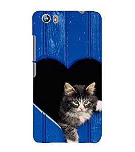Cute Kitty 3D Hard Polycarbonate Designer Back Case Cover for Micromax Canvas Fire 4 A107