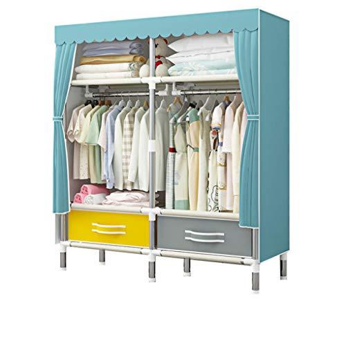DPLQX Stoffkleiderschrank Stabil, Stoffschrank Schrank Textil Staubdicht Bedroom Wardrobes Schnell und einfach zusammenzubauen Dauerhaft,Blue_100x45x170CM -