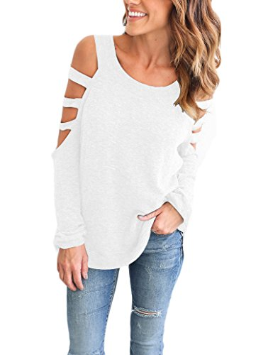 Camicia Donna Elegante Taglie Forti Maglie A Manica Lunga Fuori Spalla Girocollo Tops Camicetta Puro Colore Allentato Blusa Maglietta Casuale Camicie T Shirt Bianco