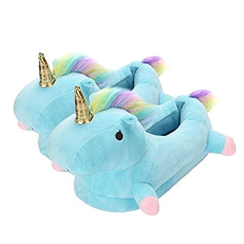 Autunno inverno pantofole peluche ciabatte unicorni animali cosplay halloween costume scarpe (adulto 35-42 eu, blu)