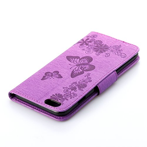 Custodia per Apple iPhone 6, ISAKEN iPhone 6S Flip Cover, 4.7 inch Custodia con Strap, Elegante Sbalzato Embossed Design in Pelle Sintetica Ecopelle PU Case Cover Protettiva Flip Portafoglio Case Cove Farfalla: violet