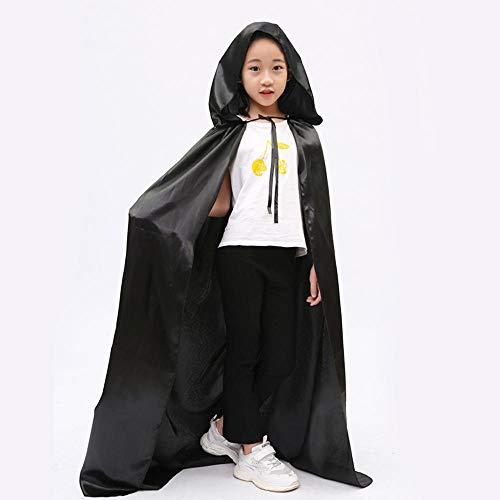 NiQiShangMao Kid Adult Halloween Party Cosplay Satin Vampire Hexe mit Kapuze Cape Mantel Hut Scary Witch Devil Rollenspiel Kostüm für Junge - Scary Witch Kostüm