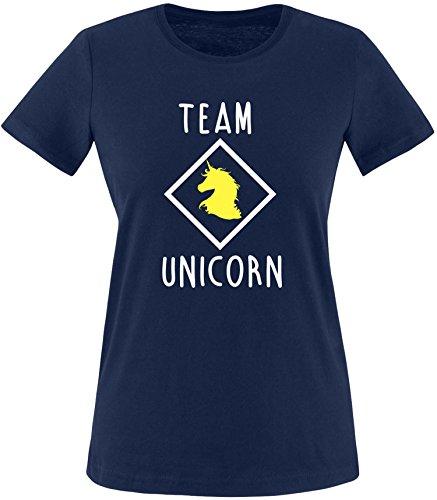 EZYshirt® Team Unicorn Damen Rundhals T-Shirt Navy/Weiss/Gelb