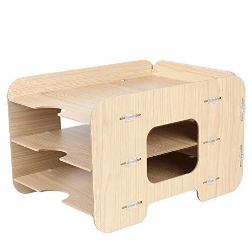 heatleper 3Etagen Holz Desktop Office Document Tray Holder, A4Datei Ordner Rack Papier Dokument Magazin Halter Schreibtisch Organizer für Büro Schule Home Burlywood (Desktop Datei-ordner-halter)