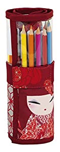Kimmidoll- Plumier Enrollable 27 Piezas, Color Rojo, Uacutenica (SAFTA 461731786)