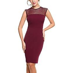 Zeagoo Damen Kleider Etuikleider Jerseykleid mit Mesheinsatz Ärmellos Bodycon Kurz Knielang Bleistiftkleid Mesh-Kleid
