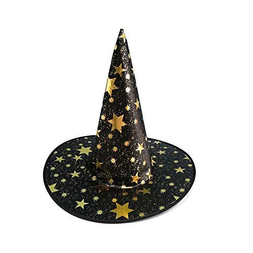 Bolange Halloween Hexe Hut Gold Mantel Hut, schöne Stoff Zauberer Kostüm Halloween Dekoration (schwarz)