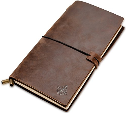 Notizbuch Leder - Reisetagebuch | Perfektes Geschenk für Männer oder Frauen, Schreiben, Dichter, Reisende, Leather Journal, Terminplaner, Tagebuch. Vintage-Stil | Nachfüllbares | Leereinsätze | (22 x 12cm)